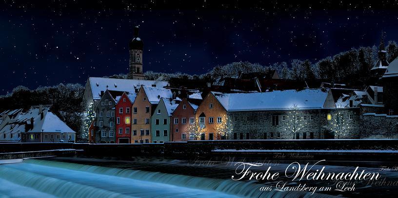 Das Lechwehr von Landsberg am Lech mit Blick auf die historische Altstadt