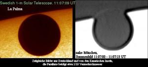 Zeitgleiche Venusaufnahmen 2004 auf den Kanaren und in München