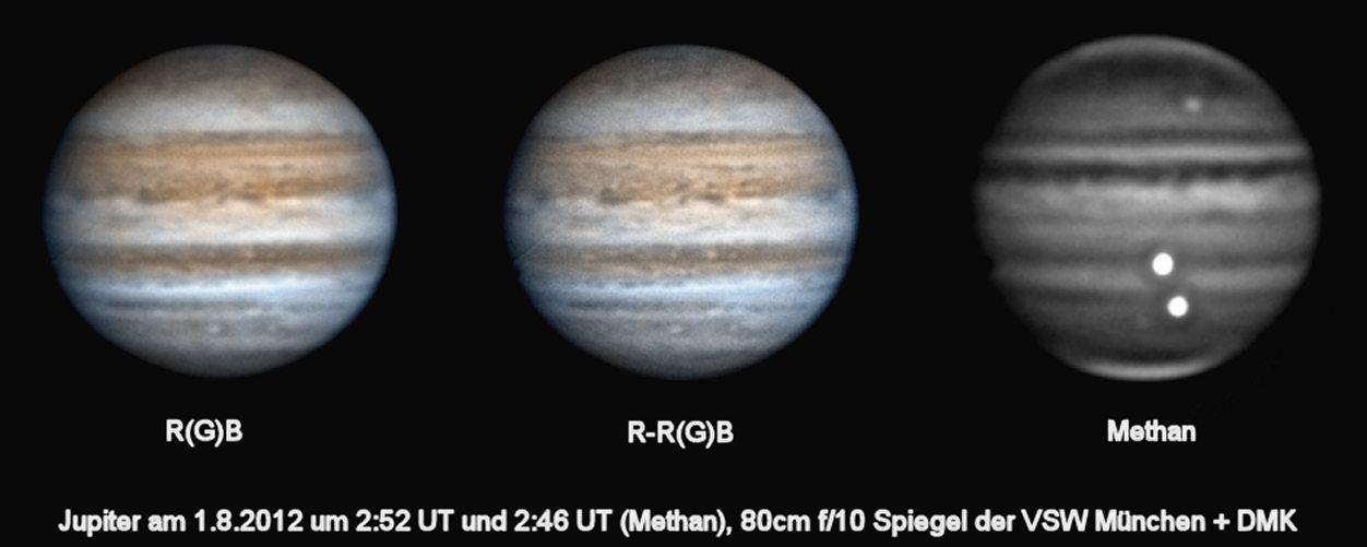 Jupiter im Methanband und Visuell