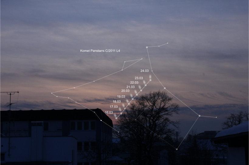 So ähnlich wandert Panstarrs am westlichen Horizont in Richtung des Sternbildes Andromeda nach oben. Blick nach Westen vom Büro von Astroshop.de