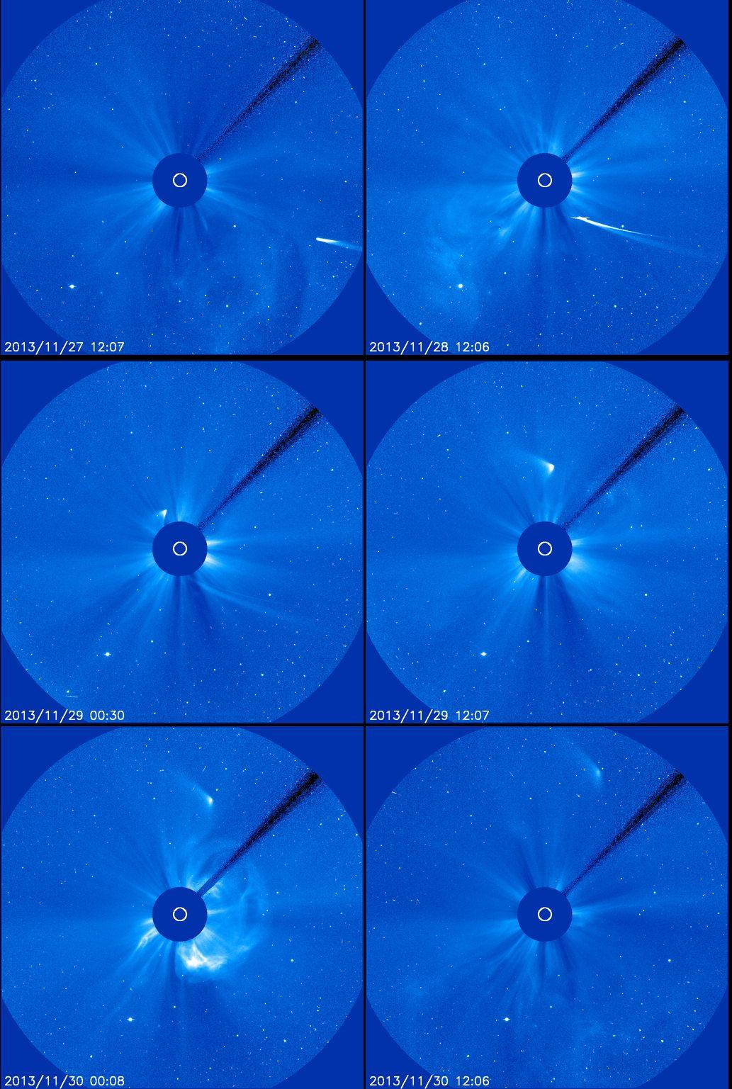 So sah der Sonnensatellit SOHO den Kometen