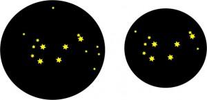 """Skizzierter Vergleich zwischen einem 1,25"""" und einem 2"""" Okular mit 40mm Brennweite bei einem Newtonteleskop 200/1000"""
