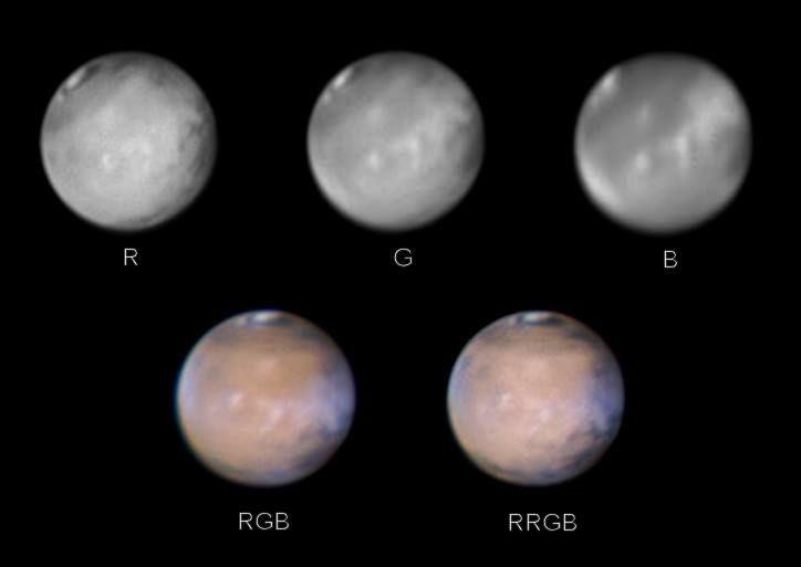 Mars durch verschiedene Farbfilter