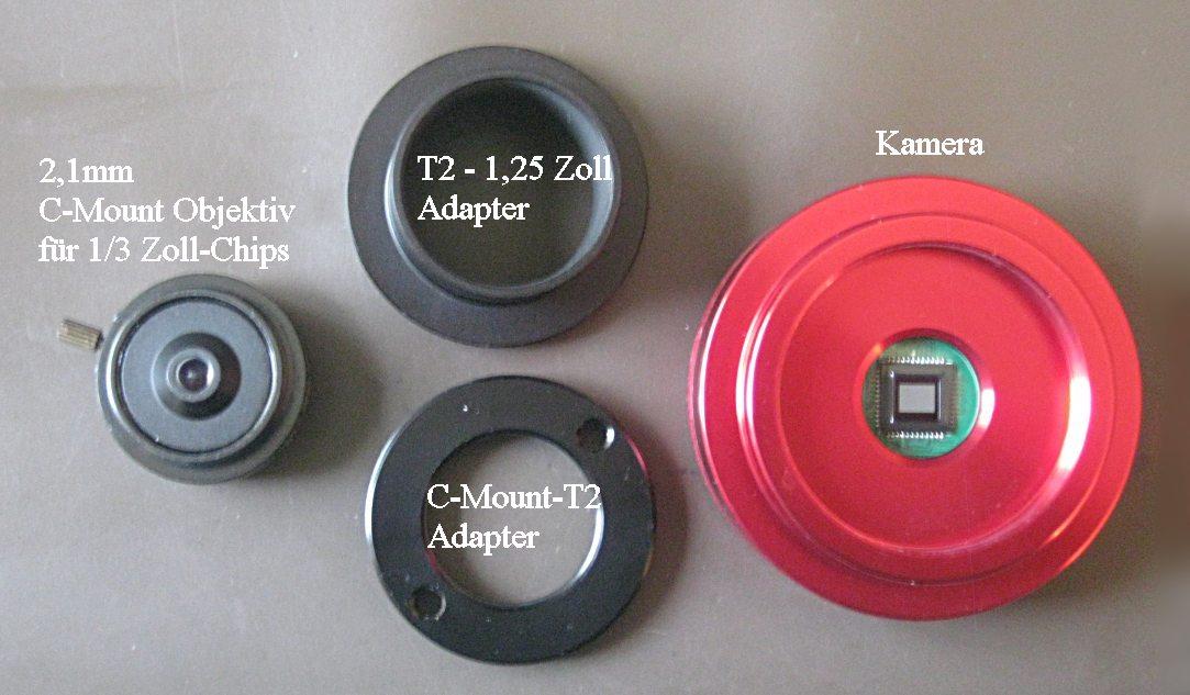 ZWO ASI 120: Kamera und Adapter