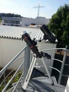 Das Omegon Photoraphy Scope Apo 72mm mit einer Baader Sonnenfilterfolie
