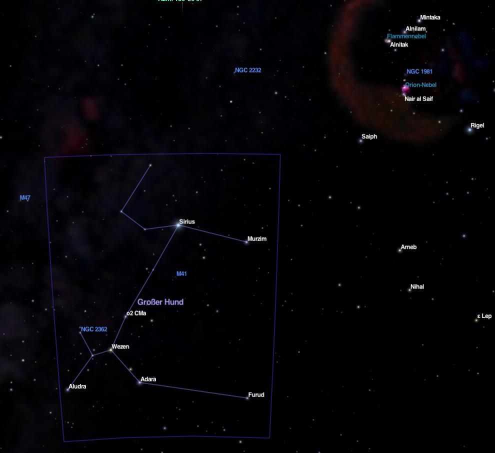 Der Stern Sirius im Sternbild Großer Hund