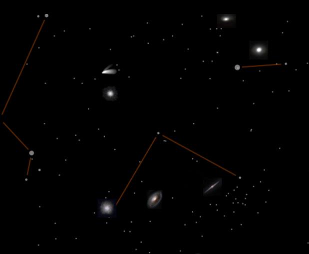 Sternbild Coma Berenices mit Deep-Sky-Objekten