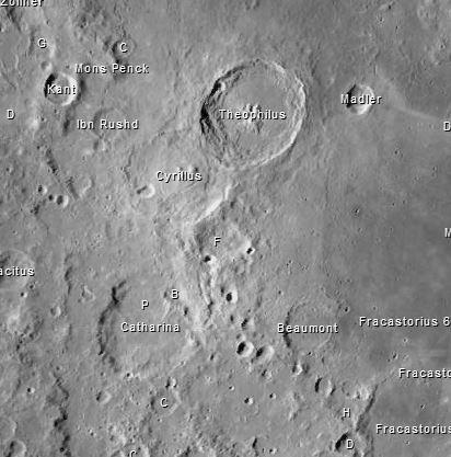 Die Mondkrater Theophyllus, Cyrillus und Catharina Quelle: Virtual Moon Atlas