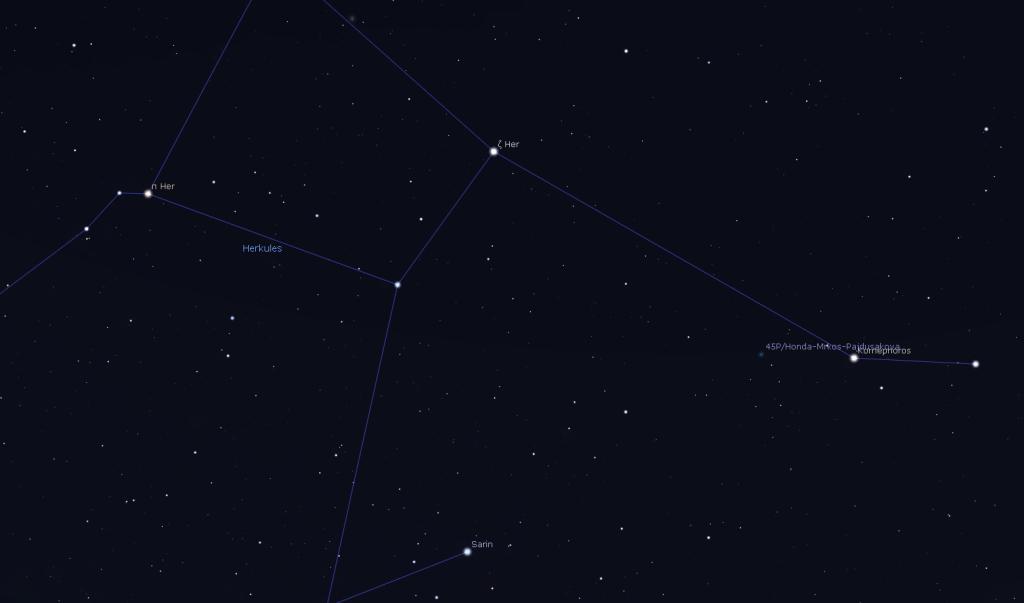Die Position von Komet Honda am 11. Februar