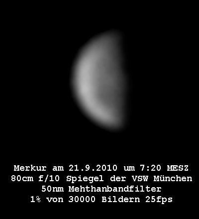 Der Merkur kurz nach seiner Halbphase, Foto: B.Gährken