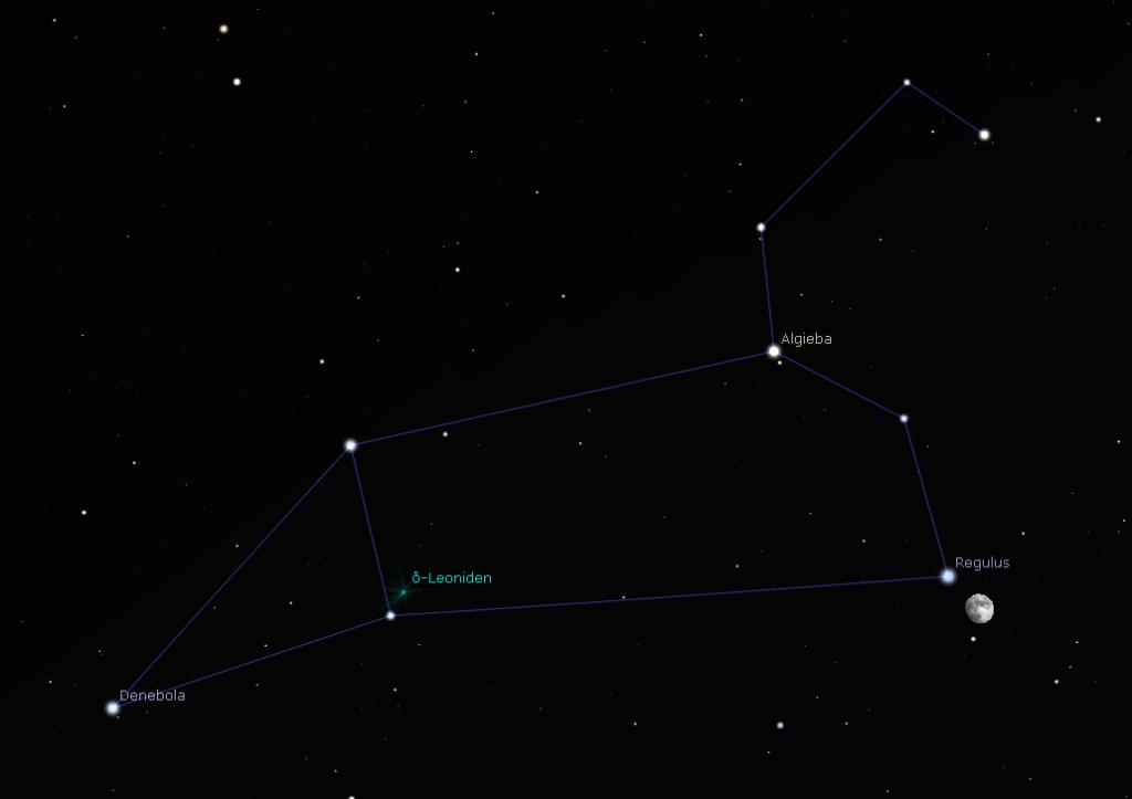 Mond und Regulus um 22:30 Uhr