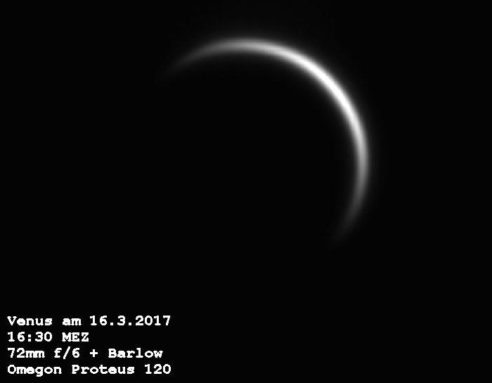 So sah die Venus kurz vor ihrer Konjunktion aus. Bild: B. Gährken
