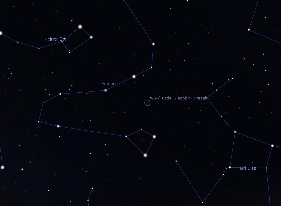 Karte zum Aufsuchen, zum Vergrößern anklicken, Stellarium