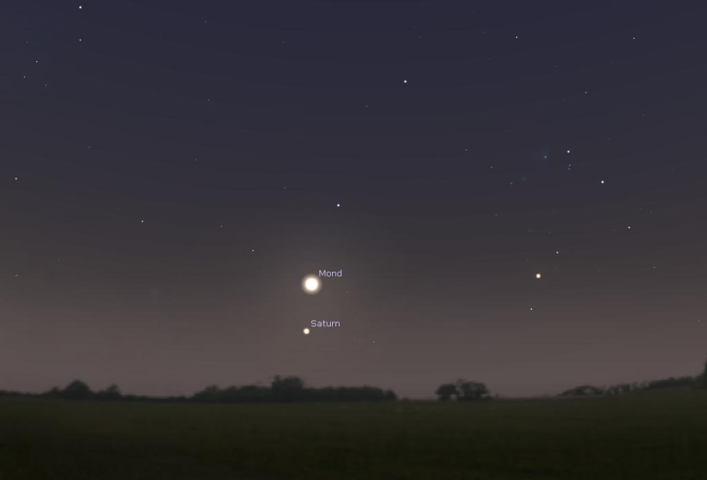 Die Ansicht von Mond und Saturn am 9. Juni um 22 uhr, Stellarium