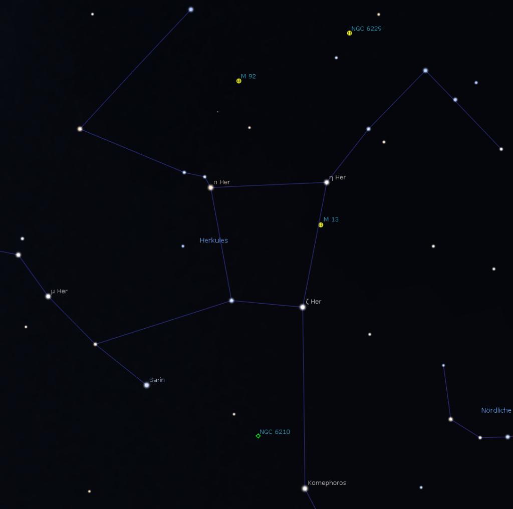 Das Sternbild Herkules, Stellarium