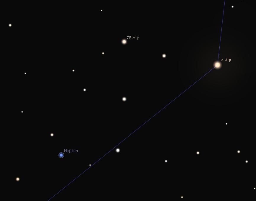 Neptun Aufsuchkarte, Stellarium