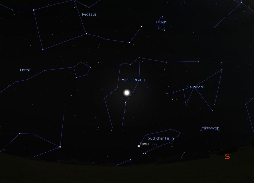 Das Sternbild Wassermann mit dem Mond